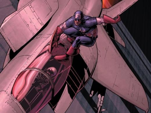Civil War Captain America Surfs a Jet